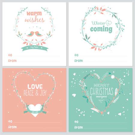 coronas de navidad: Conjunto de tarjetas de felicitación cuadrados con Navidad y Año Nuevo saludo romántico etiquetas de flores, cintas, corazones, coronas, laurel Vectores