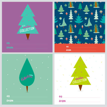christmas trees: Set of square greeting cards with Christmas and New Year greeting cute patterns and christmas trees. Good for winter design cards or posters. Scrapbooking.