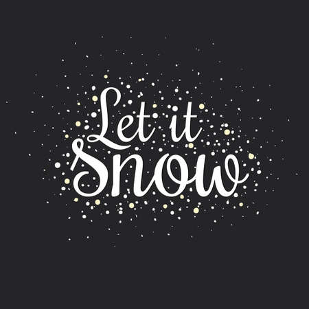 let it snow: Set of square greeting cards with Christmas and New Year Calligraphic And Typographic Background. Greeting stylish illustration of winter wishes
