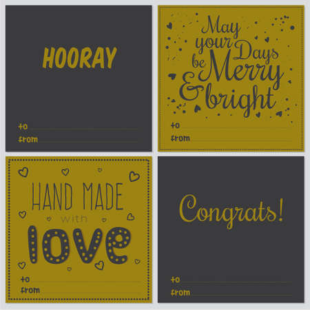 hooray: Set of square greeting cards with Christmas and New Year Calligraphic And Typographic Background. Greeting stylish illustration of winter wishes