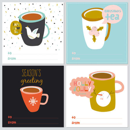 funny pictures: Vintage Merry Christmas And Happy New Year illustration of different colorful cups with funny and cute pictures. Greeting stylish post card collections Illustration