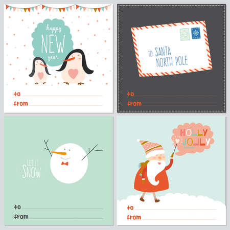 let it snow: Merry Christmas And Happy New Year greeting cards with calligraphic and typographic wishes and winter elements. Illustration with santa claus, letter, happy penguins and cute and smiling snowman
