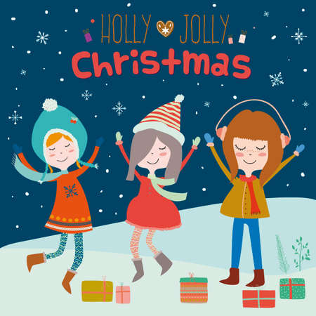holiday gifts: Stylish and bright Merry Christmas and New Year card. Funny and smiling girls dancing at night in the snow. Winter holiday background with cute penguins and gifts