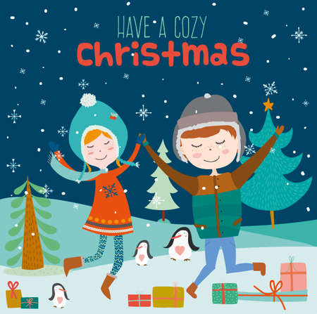 winter holiday: Bright Merry Christmas and New Year card. Smiling boys and girls dancing at night on snow. Winter holiday background with penguins and gifts. Keep calm and wait for Santa. Illustration