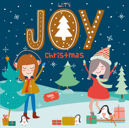 winter holiday: Stylish and bright Merry Christmas and New Year card. Funny and smiling girls dancing at night in the snow. Winter holiday background with cute penguins and gifts