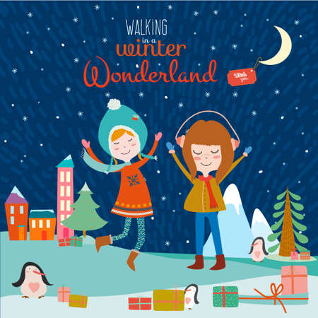 christmas cute: Stylish and bright Merry Christmas and New Year card. Funny and smiling girls dancing at night in the snow. Winter holiday background with cute penguins and gifts