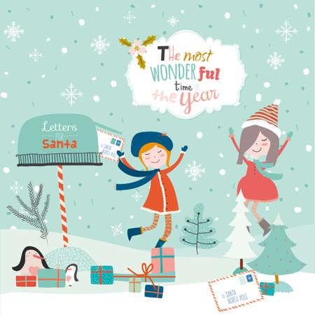 buzon: Feliz Navidad y Feliz Año Nuevo del ejemplo del vintage con felices niñas sonrientes. Saludo deseos caligráficas y tipográficas elegantes. Papá Noel, buzón, búho, carta, pingüinos, buzón de correo, regalos