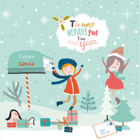 mailbox: Vintage Merry Christmas And Happy New Year illustration with happy smiling girls. Greeting stylish calligraphic and typographic wishes. Santa Claus, mailbox, owl, letter, penguins, mailbox, presents