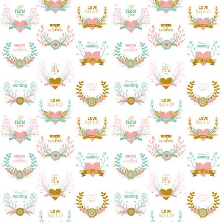 coronas de navidad: Ilustración de Navidad y Año Nuevo saludo patrón transparente romántica con la flor etiquetas, cintas, corazones, coronas, laurel. Bueno para las tarjetas de invierno o carteles. Envase. Papel café. álbum de recortes Vectores