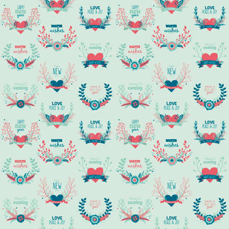 wreaths: Illustration of Christmas and New Year greeting romantic flower seamless pattern with labels, ribbons, hearts, wreaths, laurel