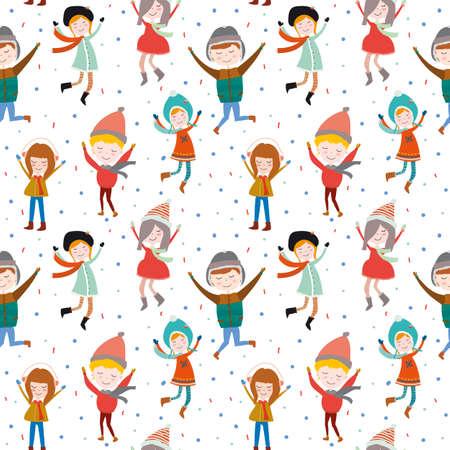 elementos: La Navidad del vintage y el patrón de felicitación del Año Nuevo. Ilustración vectorial de alegres sonrientes muchachas de salto y los niños. Bueno para el diseño, tarjetas o carteles. Scrapbooking. Envolver