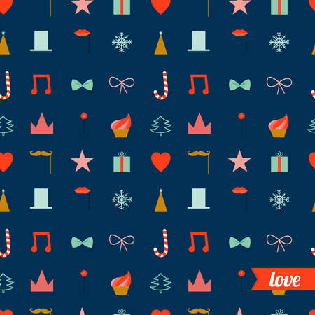 lets party: Vintage Christmas and New Year greeting pattern. Vector illustration of festive party icons and winter elements. Lets joy Christmas. Good for design, cards or posters. Scrapbooking. Wrapping Illustration