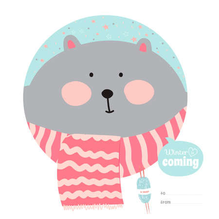 Cute animal wrapped in a scarf, congratulates all of the holidays Illustration