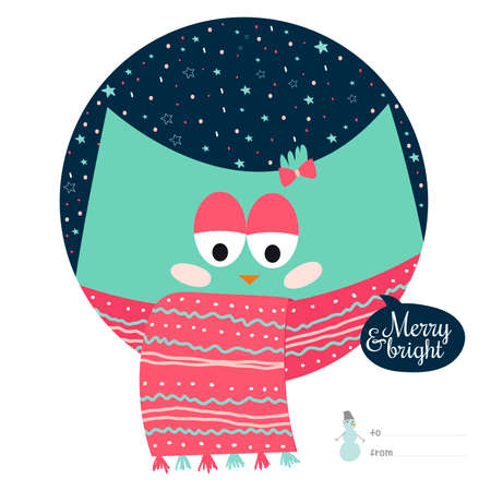 Cute animal wrapped in a scarf, congratulates all of the holidays Ilustração