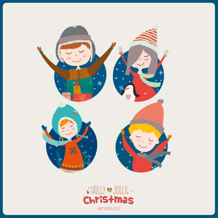 winter holiday: Stylish and bright Merry Christmas and New Year card in vector. Funny and smiling boys and girls congratulates and waving their hands. Winter holiday background. Lets joy Christmas.