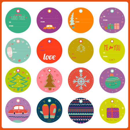 tag: Vintage Christmas and New Year greeting stickers, labels, tags and ribbons with cute winter elements, icons, typography, greeting and wishes. Good for winter design cards or posters. Scrapbooking.