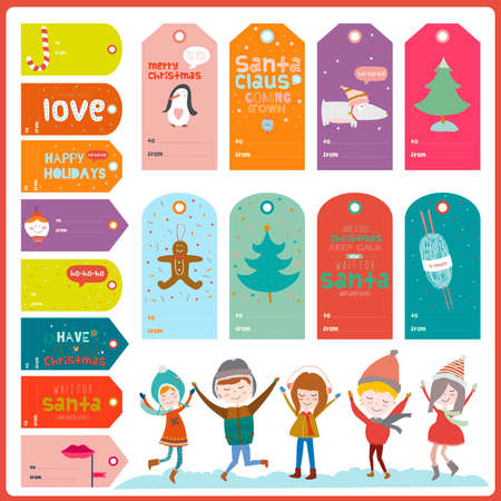 happy kids jumping: Vintage Christmas and New Year greeting stickers, labels, tags and ribbons with cute winter elements, icons, typography, greeting and wishes. Good for design cards or posters. Happy kids jumping