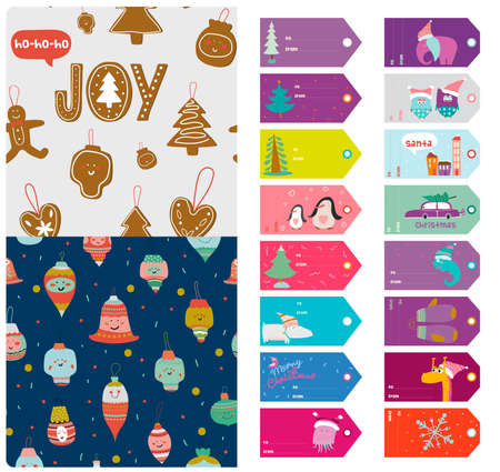 accessory: Vintage Christmas and New Year greeting stickers, labels, tags and ribbons with cute winter elements, icons, typography, greeting and wishes. Good for winter design cards or posters. Scrapbooking.