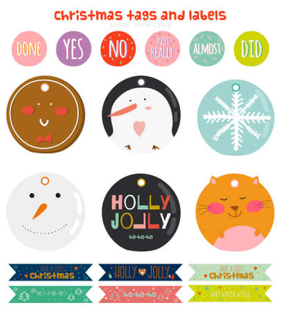 lindo: Vintage Christmas and New Year greeting stickers, labels, tags and ribbons with cute winter elements, icons, typography, greeting and wishes. Good for winter design cards or posters. Scrapbooking.