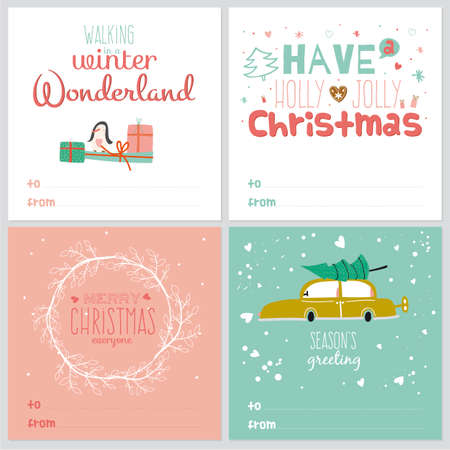 retro christmas: Set of square greeting cards with Christmas and New Year Calligraphic And Typographic Background. Greeting stylish illustration of winter elements. Good for design, cards or posters. Scrapbooking.