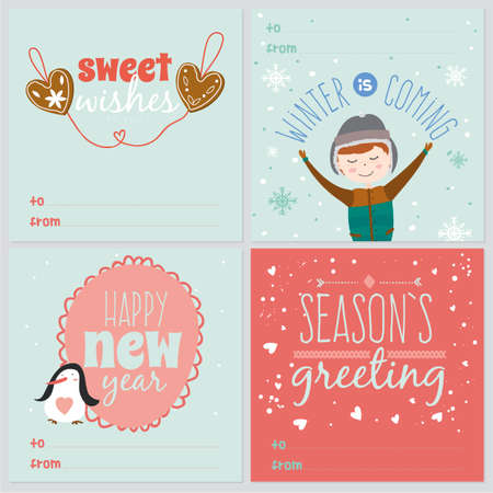 teen boy: Set of square greeting cards with Christmas and New Year Calligraphic And Typographic Background. Greeting stylish illustration of winter elements. Good for design, cards or posters. Scrapbooking.
