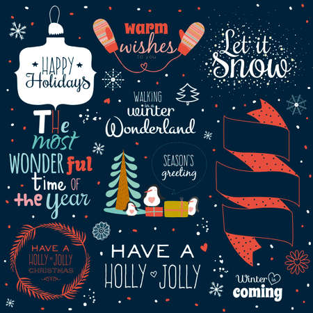 let it snow: Vintage Merry Christmas And Happy New Year Calligraphic And Typographic Background. Greeting stylish illustration of winter elements and wishes. Good for design, cards or posters. Scrapbooking.