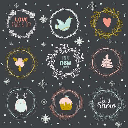 paloma: Vintage Feliz Navidad y Feliz A�o Nuevo caligr�fico Y Fondo tipogr�fico. Tarjetas de ilustraci�n de invierno rom�nticas flores, bayas, hojas, coronas, laureles, deseos, paloma, b�ho, los copos de nieve Vectores