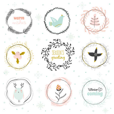 fleurs romantique: Vintage Merry Christmas And Happy New Year Calligraphic And Typographic Background. Greeting illustration of winter romantic flowers, berries, leafs, wreaths, laurels, wishes, dove, owl, snowflakes