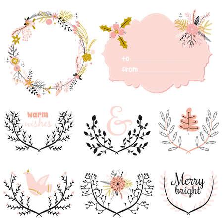 fleurs romantique: Vintage Joyeux No�l et Bonne Ann�e calligraphiques et fond typographique. Salutation illustration �l�gante d'hiver fleurs romantiques, des baies, des feuilles, guirlande, laurier. Bon pour les cartes ou affiches