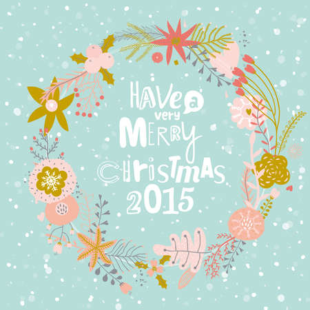leafs: Vintage Merry Christmas And Happy New Year Calligraphic And Typographic Background. Greeting stylish illustration of  winter romantic flowers, berries, leafs, wreath, laurel. Good for cards or posters