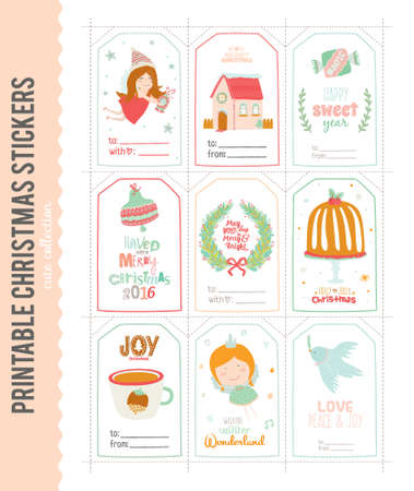 wishes romantic: Romantic and Cute Vector Cards, Notes, Stickers, Labels, Tags with Winter Christmas Illustrations and Wishes. Template for New Year Greeting Scrapbooking, Congratulations, Invitations. Vertical Card