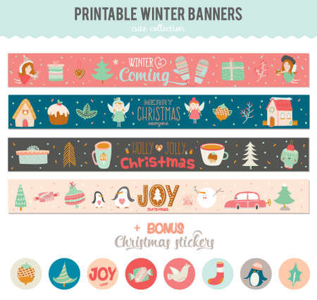 romantic and cute vector cards notes stickers labels tags