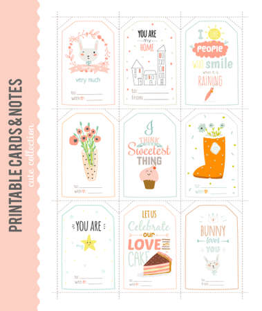cute cards: Romantic and Cute Vector Cards, Notes, Stickers, Labels, Tags with Spring Illustrations and Love Wishes. Template for Greeting Scrapbooking, Congratulations, Invitations. Vertical Card Design