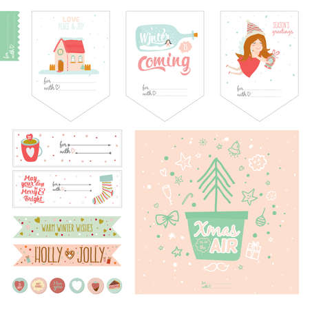 cute flowers: Romantic and love cards, notes, stickers, labels, tags with cute print illustrations. Template for notebooks, decals and school accessories