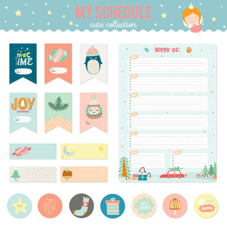 diary: Romantic and love cards, notes, stickers, labels, tags with Spring illustrations. Template for notebooks, decals and school accessories