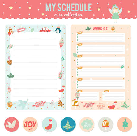 memos: Romantic and love cards, notes, stickers, labels, tags with Spring illustrations. Template for notebooks, decals and school accessories