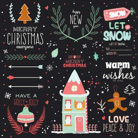 빈티지 메리 크리스마스, 해피 뉴 붓글씨와 인쇄상의 배경입니다. 겨울 요소와 소원의 세련된 그림 인사말. 디자인, 카드 또는 포스터에 적합합니다.