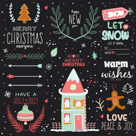 Vintage Merry Christmas And Happy New Year Calligraphic And Typographic Background. Greeting stylish illustration of winter elements and wishes. Good for design, cards or posters. Scrapbooking.