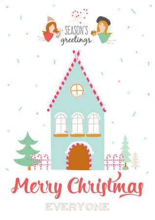 seasons of the year: Merry Christmas and Happy New Year Calligraphic and Typographic Wish with Illustration of a Cute Winter House and Xmas Angels on White Background. Greeting hand drawn holidays card. Seasons Greetings