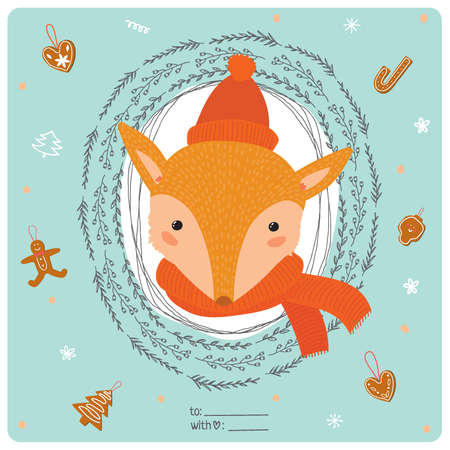 wreathe: Merry Christmas and Happy New 2016 Year Card with Happy Smiling Xmas Fox in knittet hat and scarf in a circle wreathe of brunches on Blue Background. Greeting holidays card with sweets and candy. Illustration
