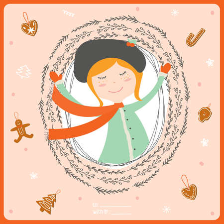 wreathe: Merry Christmas and Happy New 2016 Year Card with Happy Smiling Xmas Girl in a circle wreathe of brunches. Greeting holidays card with sweets and candy background.