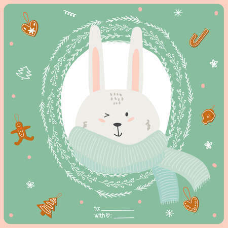 wreathe: Merry Christmas and Happy New 2016 Year Card with Happy Smiling Xmas Bunny in knittet scarf in a circle wreathe of brunches on Green Background. Greeting holidays card with sweets and candy.