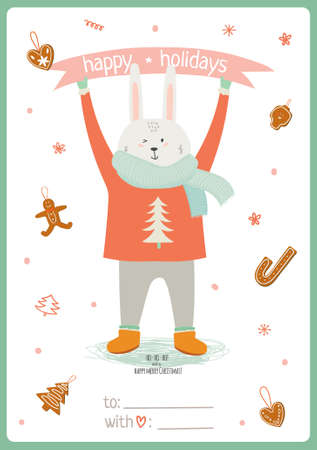 bunny xmas: Merry Christmas and Happy New 2016 Year Card with Happy Smiling Xmas  Bunny in knittet scarf on White Background. Greeting holidays card with sweets and candy.