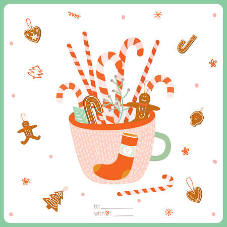 gingerbread cookie: Cute Merry Christmas And Happy New Year card with Gingerbread Christmas Cookies in a Greeting Cup for Xmas Decoration. Merry and Bright Invitation Holidays Card for 2016 Illustration