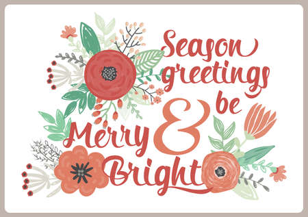 winter wish: Vintage Merry Christmas And Happy New Year Card with Winter Fowers and Holidays Wish. Greeting stylish illustration of winter romantic wreath of flowers, leafs and laurel. Good for cards or posters Illustration