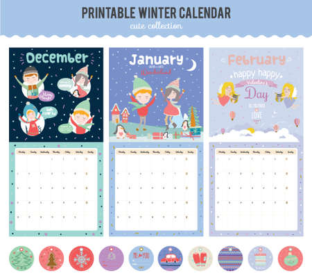 Cute Calendar Template for 2016. Beautiful Diary with Vector Character and Funny Illustrations Animals and Kids. Trendy Season Holidays Backgrounds. Good Organizer and Schedule with place for Notes