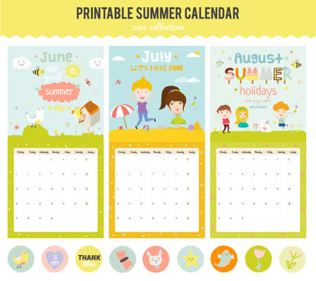 week: Cute Calendar Template for 2016. Beautiful Diary with Vector Character and Funny Illustrations Animals and Kids. Trendy Season Holidays Backgrounds. Good Organizer and Schedule with place for Notes
