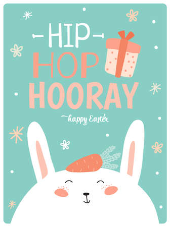 hooray: Happy Easter card in vector. Cute smiling Bunny face in stylish colors. Hip hop hooray 3x4 poster. Holidays spring and summer cartoon concept collection
