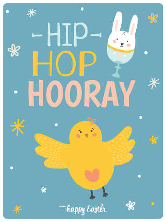 hooray: Happy Easter card in vector. Cute chicken in stylish colors. Hip hop hooray 3x4 poster. Holidays spring and summer cartoon concept collection Illustration