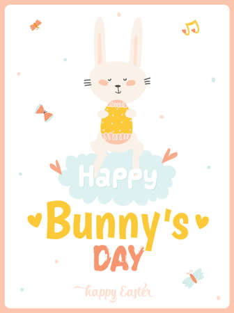 buterfly: Happy Easter card in vector. Cute smiling Bunny with egg in stylish colors. Happy Bunny day 3x4 poster. Holidays spring and summer cartoon concept collection
